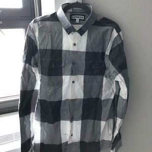 Express extra slim button up checkered shirt.